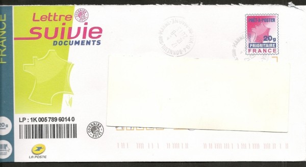 Tarifs lettre suivie 2018 en france for Suivre un courrier suivi